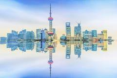 Beautiful Shanghai pudong skyline and reflection. The sunlight beautiful Shanghai pudong skyline Stock Image