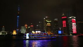 Beautiful Shanghai skyline night  video stock video