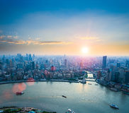 Beautiful shanghai in sunset. Aerial view of the bund and huangpu river Royalty Free Stock Image