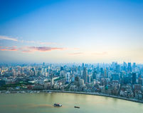 Beautiful shanghai with sunset glow. Beautiful shanghai in sunset aerial view of the bund and huangpu river Royalty Free Stock Images