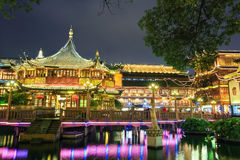 Beautiful shanghai yuyuan garden at night Stock Images