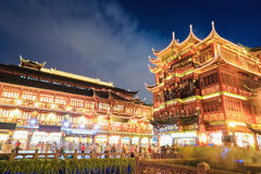 Beautiful shanghai yuyuan at night Stock Photos
