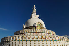 Beautiful Shanti Stupa near Leh, India Royalty Free Stock Photo