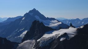 Beautiful shaped high mountains seen from Mt Titlis Royalty Free Stock Photography
