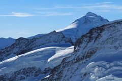 Beautiful shaped mountains and glacier, Mt Aletschhorn Stock Photo