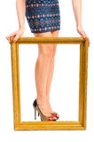 Beautiful shapely womens legs in  frame Royalty Free Stock Photos