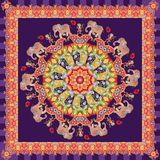 Beautiful shawl with flower - mandala, cute cartoon elephants, cheerful monkeys and raspberries Stock Photography