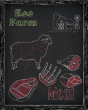 Beautiful sheep and cutting meat scheme Royalty Free Stock Photos