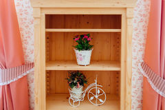 Beautiful shelves with flowers Royalty Free Stock Image