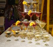 Beautiful shelves of glasses of red and white wine Royalty Free Stock Photos