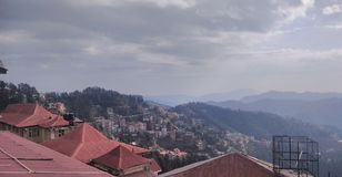 Beautiful Shimla in winter season stock image
