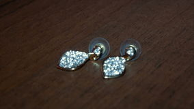 Beautiful shining diamonds on earrings with stock footage