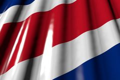 Nice any occasion flag 3d illustration - shiny - looking like plastic flag of Costa Rica with big folds lie in corner. Beautiful shining - looks like plastic royalty free illustration