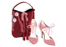 Beautiful shinning Shoes and bag Accessory. Vector Watercolor illustration Royalty Free Stock Photo