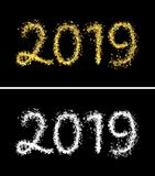 Beautiful shiny glossy text 2019 of crescent-shaped light gold particles. 3d render raster illustration with alpha channel vector illustration