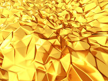Beautiful shiny golden triangle geometry design background Stock Photo