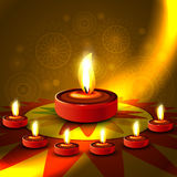 Beautiful shiny happy diwali diya colorful rangoli Royalty Free Stock Photography