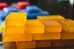 Beautiful shiny honey color handmade Turkish soaps royalty free stock photo
