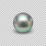 Beautiful shiny sea pearl. Spherical beautiful 3D orb with transparent glares and highlights. Jewelry gemstones. Isolated vector illustration on transparent Stock Photos