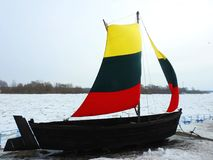 Old ship with lithuanian flag colors sails, Lithuania Stock Images