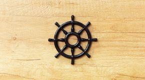 Beautiful ship steering wheel Royalty Free Stock Photography