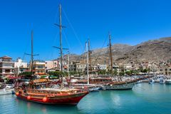 Beautiful ships in greek island royalty free stock photography