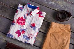 Beautiful shirt with accessories. Stock Image