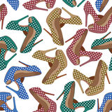 Beautiful  shoes seamless pattern. Royalty Free Stock Images