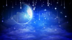 Beautiful shooting stars and full moon, best loop video background to put a baby to sleep, calming relaxing