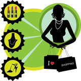 Beautiful shopping girl. Luxury vector banner Royalty Free Stock Photography