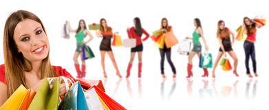 Beautiful shopping girl Stock Image