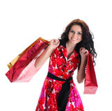 Beautiful shopping girl with bags. Isolated on white background Royalty Free Stock Images