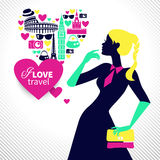 Beautiful shopping girl dreams about traveling. Heart shape with travel icons Stock Photo