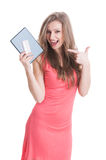 Beautiful shopping girl holding tablet and card Stock Photo