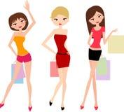 Beautiful shopping girls. Illustration of three shopping girls Stock Image