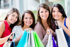 Beautiful shopping girls Stock Photo