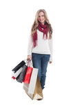 Beautiful shopping lady holding bunch of shopping bags Stock Images