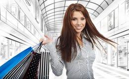 Beautiful shopping woman stock images