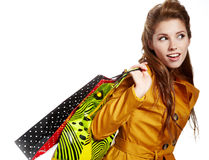 Beautiful shopping woman. Happy holding shopping bags Stock Image