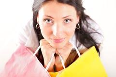 Beautiful shopping woman happy holding bags. Beautiful shopping woman happy holding paper bags Stock Photos