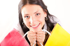 Beautiful shopping woman happy holding bags. Beautiful shopping woman happy holding paper bags Royalty Free Stock Photos