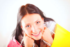 Beautiful shopping woman happy holding bags. Beautiful shopping woman happy holding paper bags Stock Image