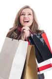 Beautiful shopping woman praying Royalty Free Stock Photo