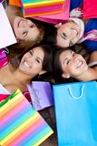 Beautiful shopping women Stock Images