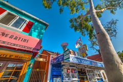 Beautiful shops in Balboa island. Newport Beach, CA, USA - November 02, 2016: Beautiful shops in Balboa island Royalty Free Stock Photos