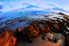 A beautiful shore with lots of broun and blue look Stock Image
