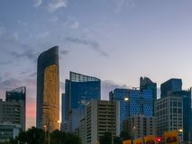 Beautiful shot of Abu Dhabi city buildings and skyline at sunset.  Royalty Free Stock Photos