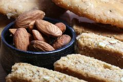 Almond biscuits. Beautiful shot of almond biscuits with whole almonds Royalty Free Stock Image
