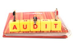Audit. Beautiful shot of audit spelled with yellow blocks royalty free stock images