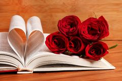 Red roses and book royalty free stock photos